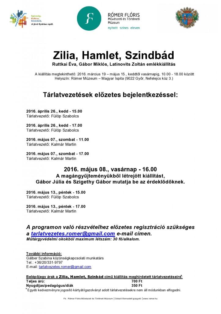új_Zilia,Hamlet,Szinbád tárlatvezetés