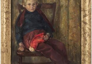 SAMODAI JÓZSEF: Kislány piros sapkával, 1950-es évek vége