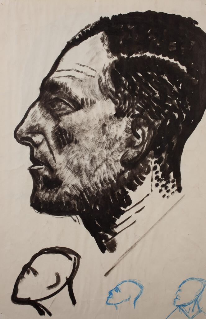 Mészáros László: Női fej, 1930-as évek, papír/tus, ltsz.: K.2005.433.1/R.803, 445 x 300 mm hátoldala