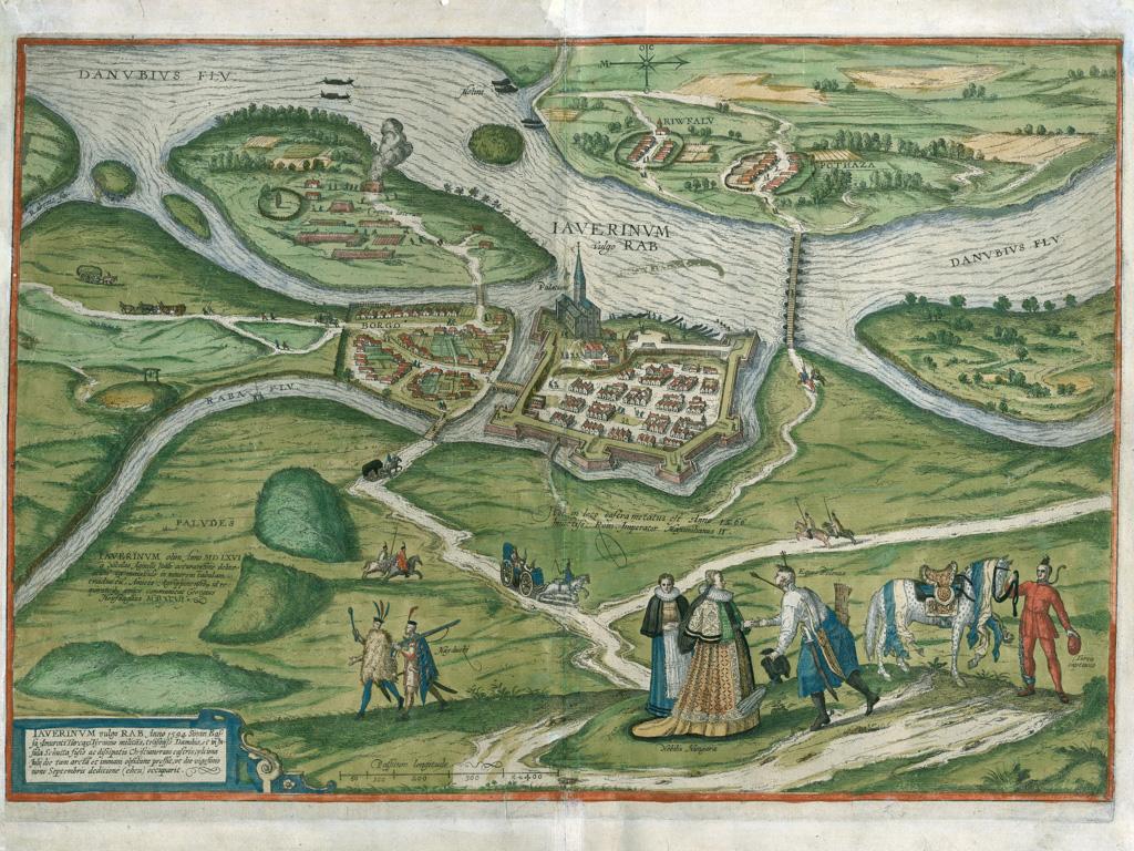Georg (Joris) Hoefnagel: Iaverinvm vulgo Rab… 1597. Megjelent: Georg Braun – Franz Hogenberg: Civitates Orbis Terrarum, V. kötet, 1598. Színezett rézmetszet, papír, 525x363 mm, ltsz.: HD.71.7.1.