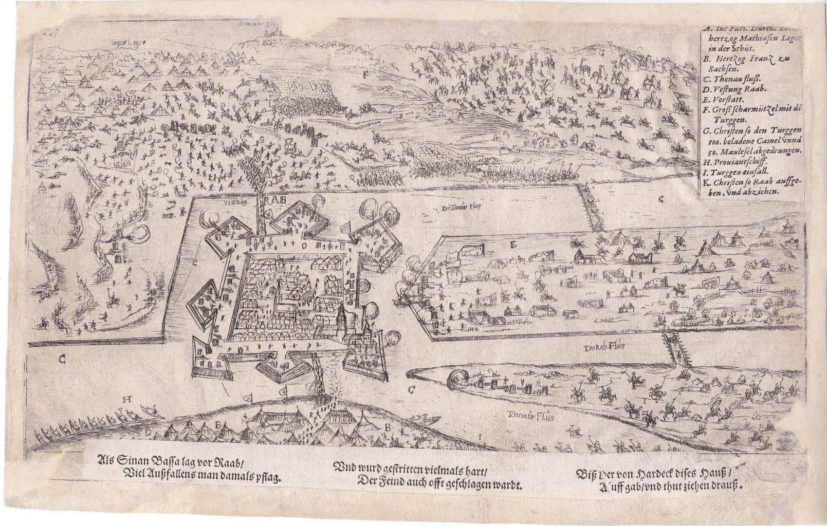 Az 1594-es ostromot ábrázoló korabeli metszet, ltsz.: HD. 75.59.1