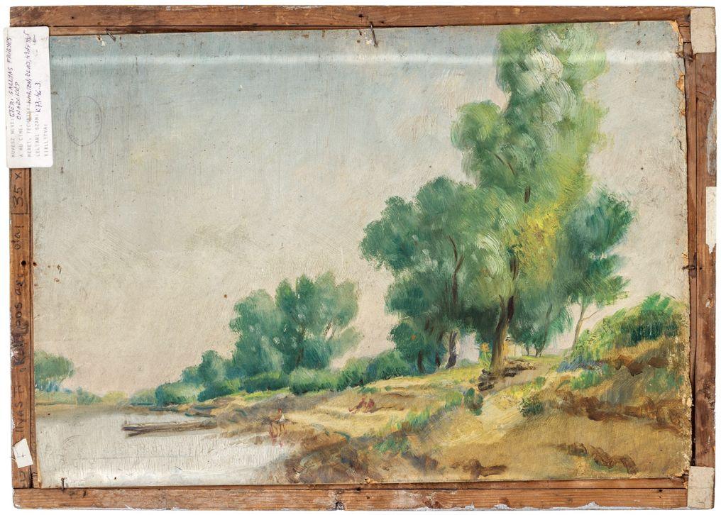 (Goldsand) Győri Gallyas Frigyes: Önarckép, karton, olaj, 49,5 x 34,5 cm, ltsz.: K.73.46.3. hátoldala