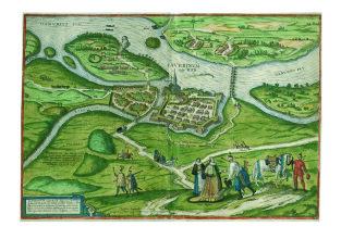 Georg Hoefnagel: Iaverinvm vulgo Rab (Győr látképe), 1597