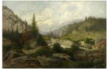 Telepy Károly (1828–1906): Hegyi táj, 1900, olaj, vászon, 40 x 60 cm Ltsz.: K.65.1.5.