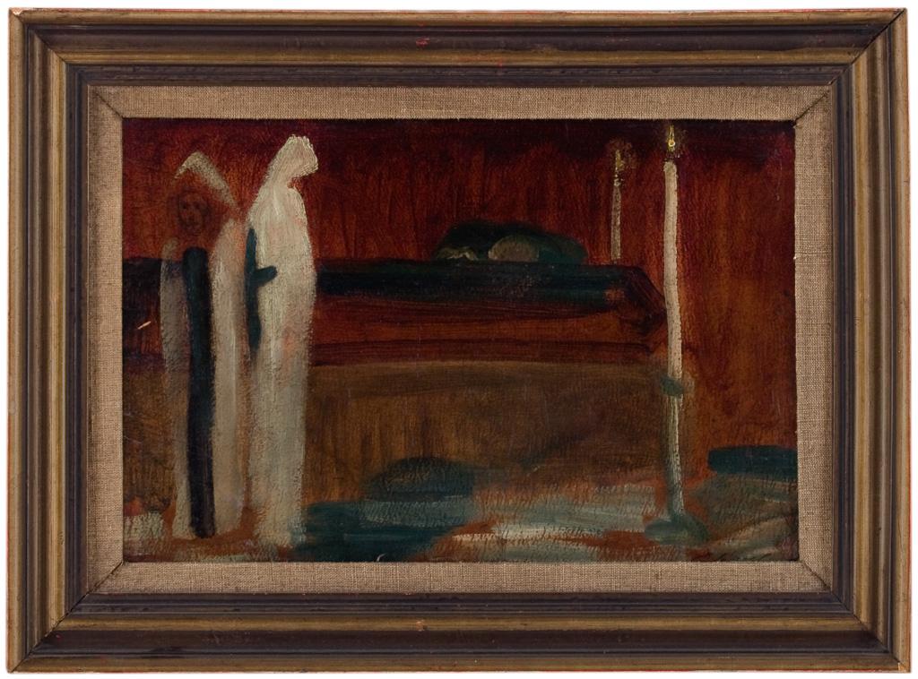 Gulácsy Lajos: Ravatalon, 1925 körül, olaj, karton, 230 x 340 mm, j.j.l.: Gulácsy L, ltsz.: K. 85.47.1.