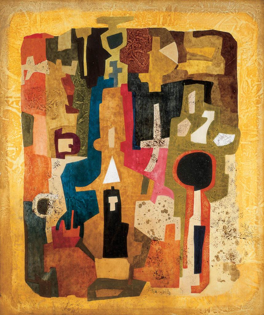 Ország Lili: Aranyváros II., 1960, farost, olaj, 74,5 x 62,5 cm, ltsz.: 2005.14.1.