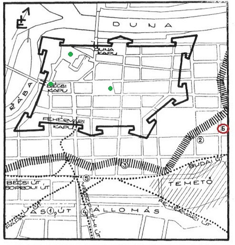 Győr belvárosának mai utcahálózata a 16. századi várfallal és a 17. századi külső sánccal