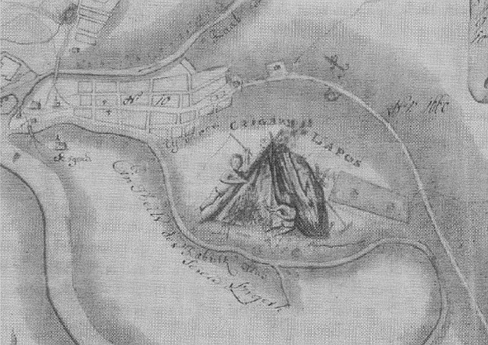Az újvárosi cigánylapos kovácsoló cigány rajzával. Hrusovszky Imre: Győr térképe, 1789. XJM C.65.39.7.