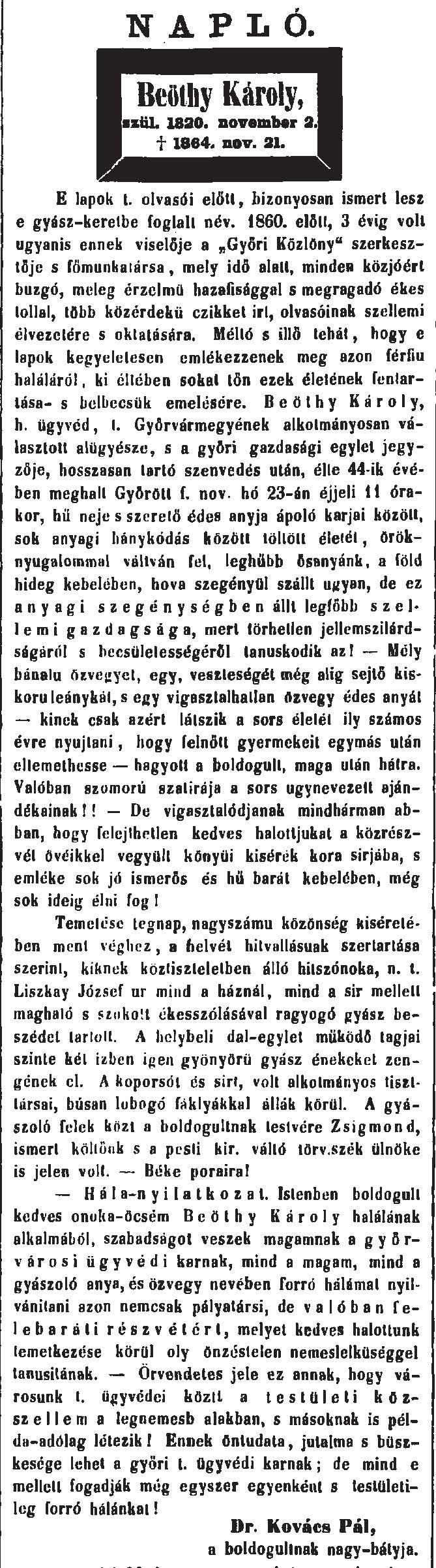 Dr. Kovács Pál cikke Beöthy Károly haláláról a Győri Közlönyben
