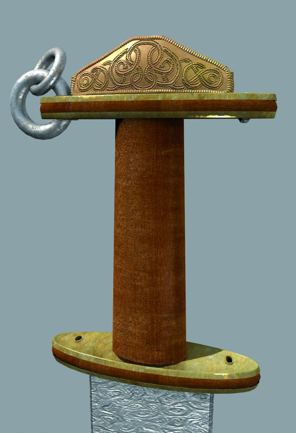 Aranyból készült, szalagornamentikával díszített, hármas tagozódású kardmarkolat. Kalapált aranylemez. Méretei: h.: 87 mm, sz.: 25 mm, m.: 25 mm. (Leltári szám: 66.37.1.1.), Fa alapra rádolgozott, nagyjából ellipszis alakú aranylemezek. Méretei: h.: 87 mm, sz.: 25 mm. (Leltári szám: 66.37.1.2.)