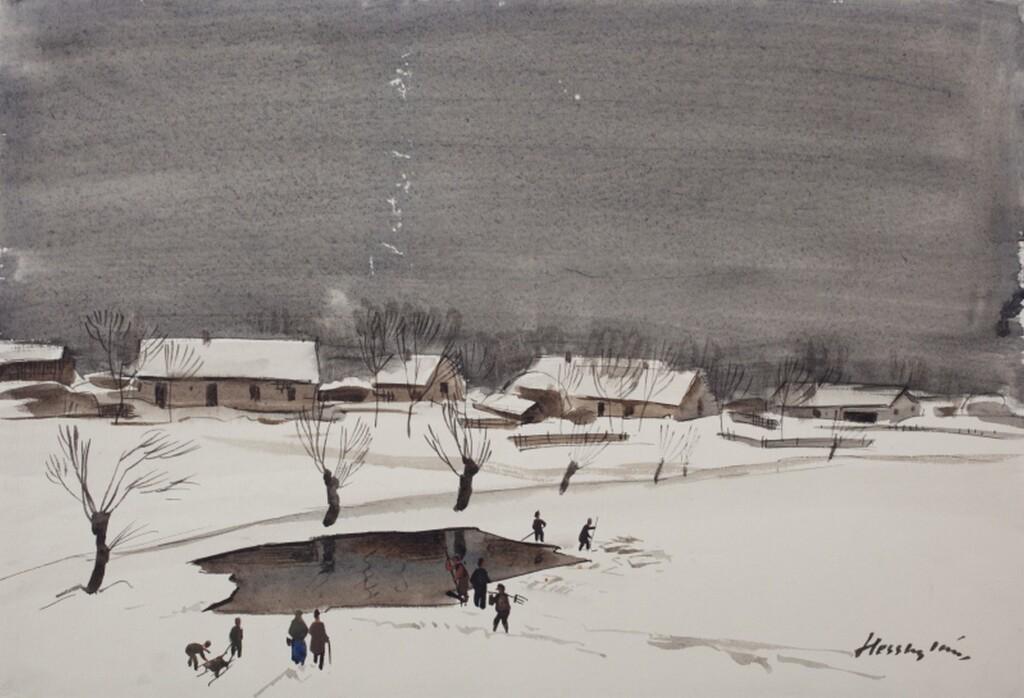 Hessky Iván: Befagyott tavon, 1934, papír, akvarell, 301x439 mm; ltsz.: K.2006.139.1 / R.830 (Fotó: Szabó Béla)