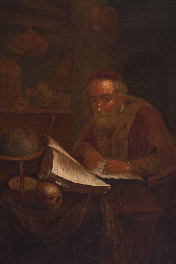 Elias Mögel: Öreg tudós. 1774. Olaj, vászon, 595x425 mm, j. l.: Elias Mögel pinxit 1774, ltsz.: K.55.141.1.