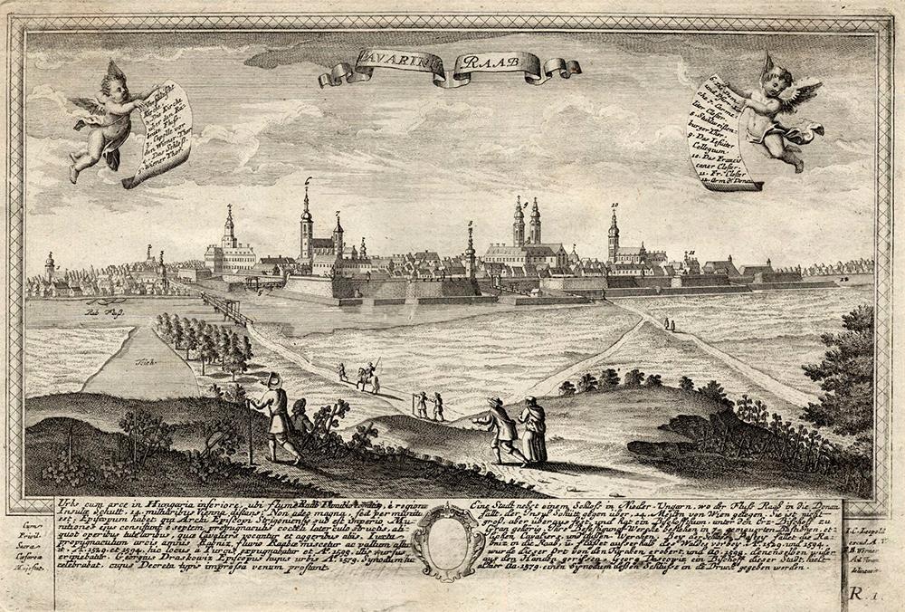 Friedrich Bernhard Werner rajza után Johann Christoph Leopold: Győr látképe, 1732 után