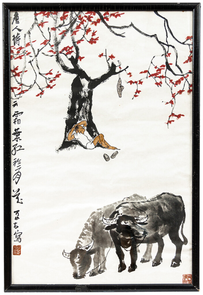 Li Keran (1907–1989): Pirosló ősz, 1960-as évek. Papír, tus, tempera, 68 × 45 cm. Ltsz.: K.85.433.1.