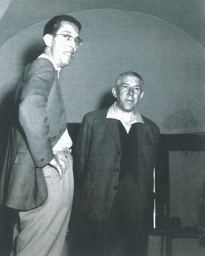 Dr. Janák Emil, a Győri Felsőfokú Tanítóképző Intézet igazgatója (balra) és Czigány Béla (jobbra).