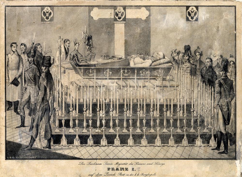 Johann Schönberg: I. Ferenc császár ravatala (1935), litográfia, 31 X 42 cm, Ltsz. RHD.2018.23.1.